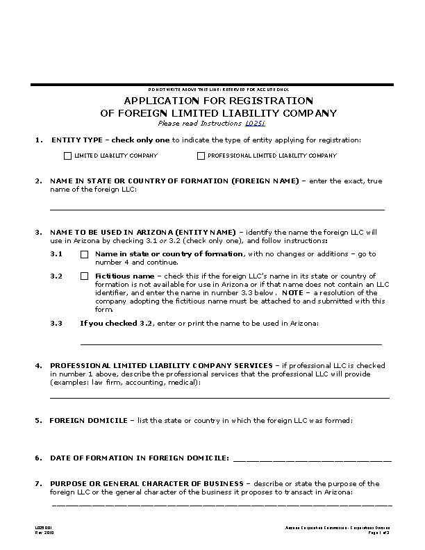 Arizona Application For Registration Of Foreign Llc