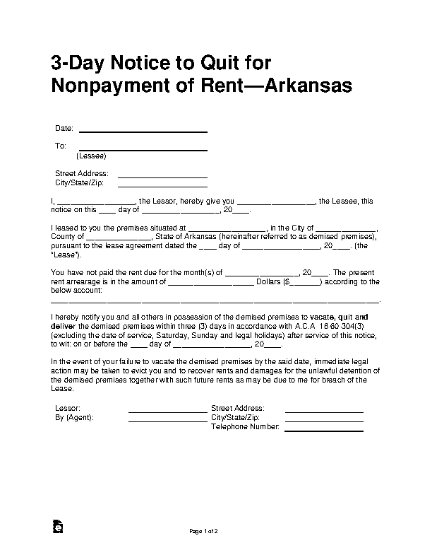 Arkansas 3 Day Notice To Pay Or Quit Form