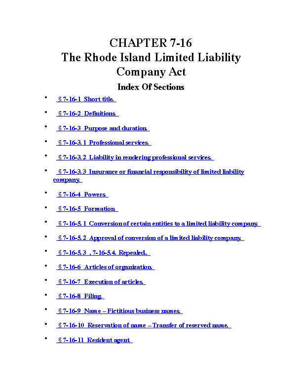 Chapter 7 16 The Rhode Island Limited Liability Company Act