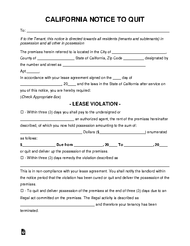 California Eviction Notice To Quit Form