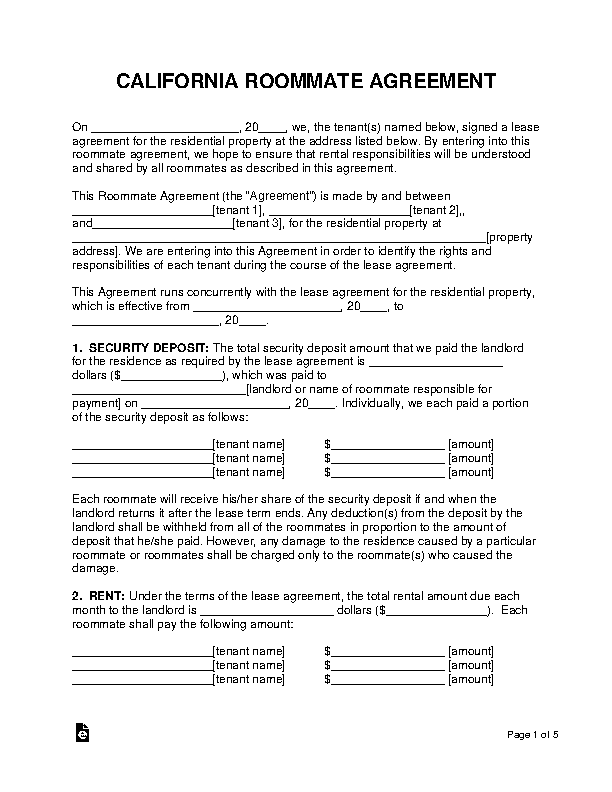 California Roommate Agreement Template