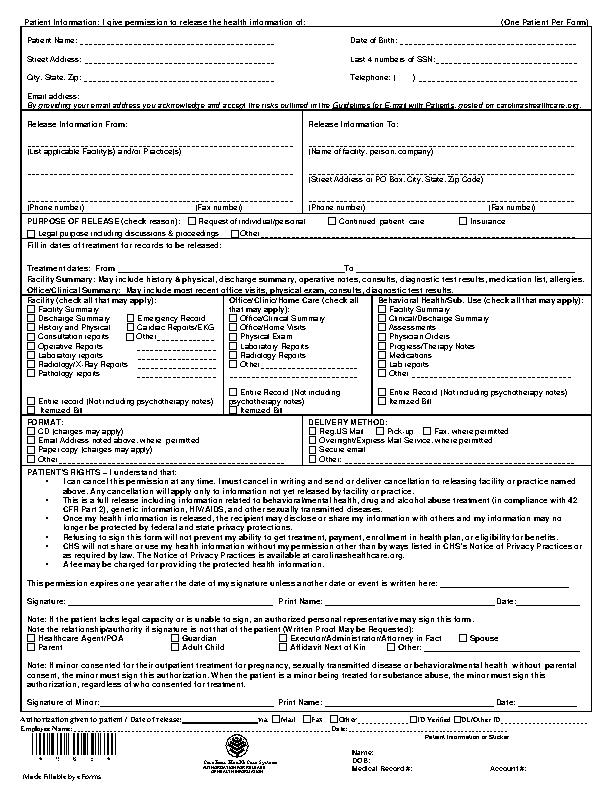 Carolinas Hipaa Medical Release Form