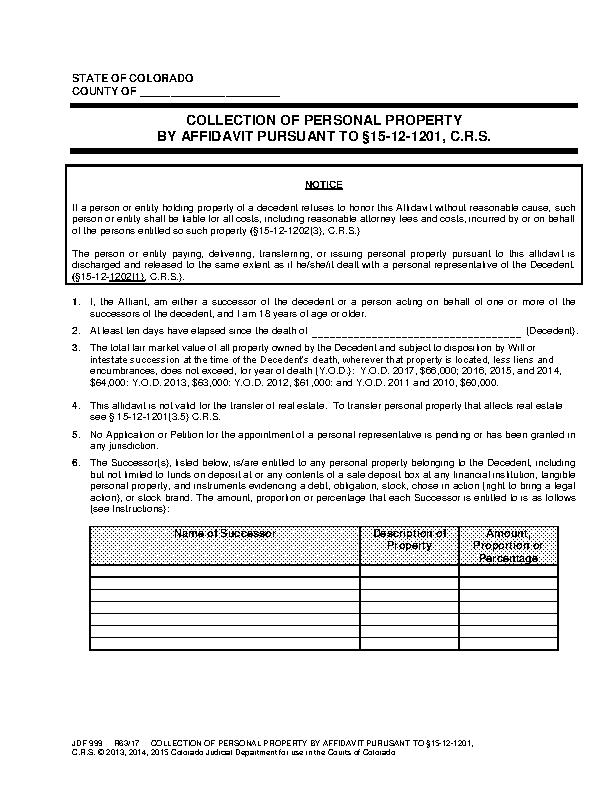 Colorado Small Estate Affidavit Form Jdf 999