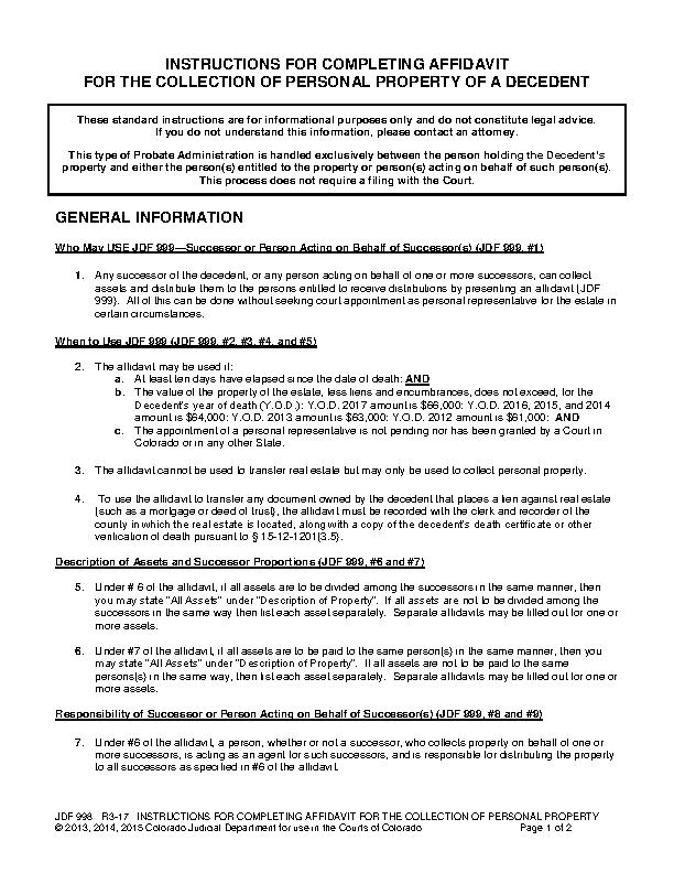Colorado Small Estate Affidavit Instructions Form Jdf 998