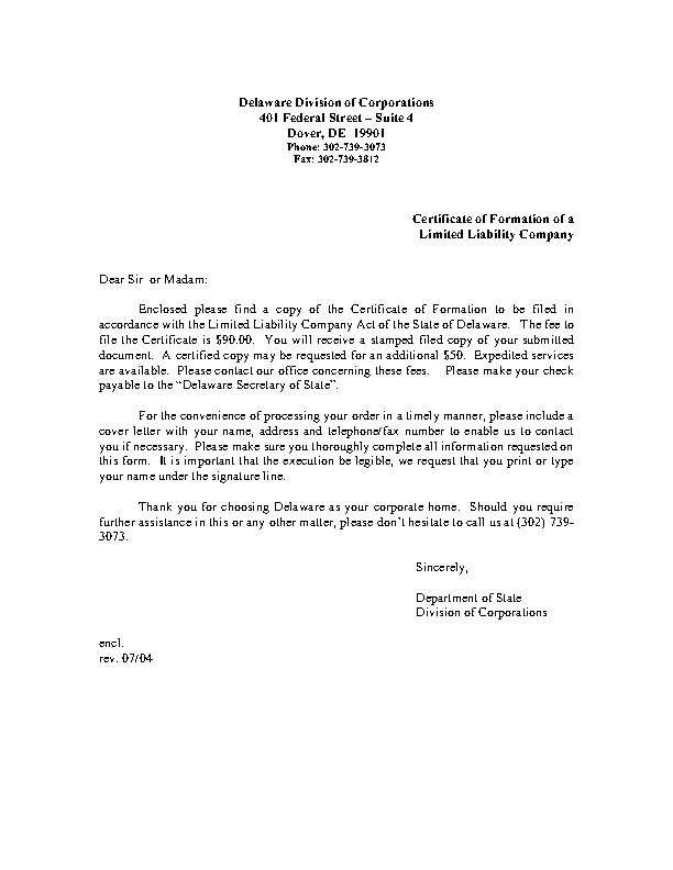 Delaware Certificate Of Formation