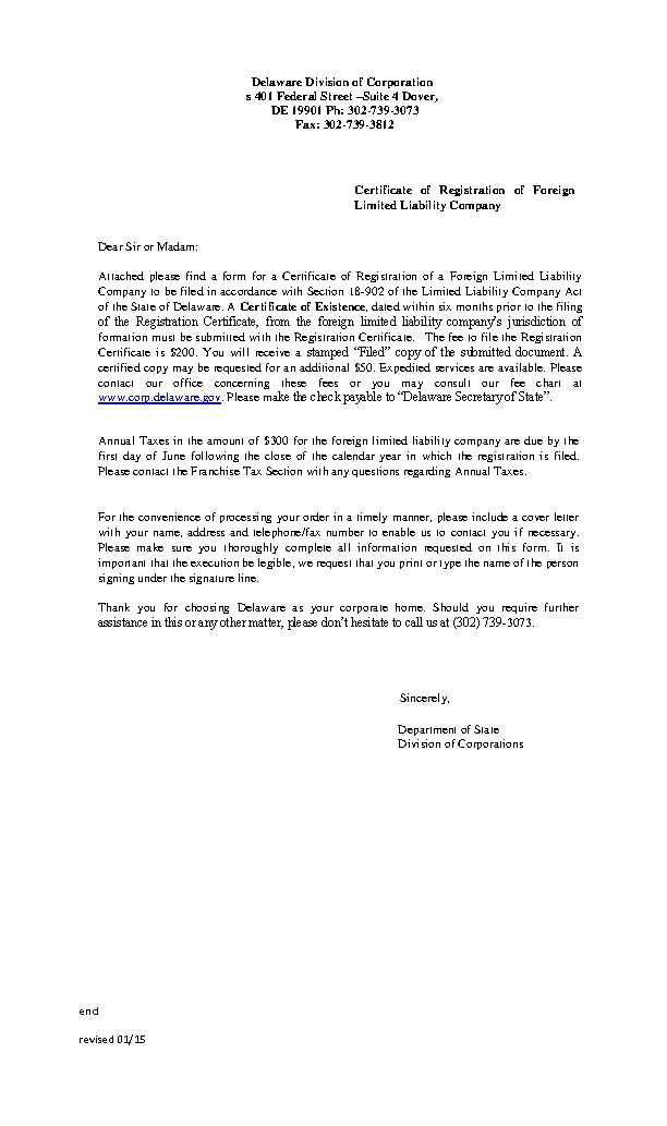 Delaware Certificate Of Registration