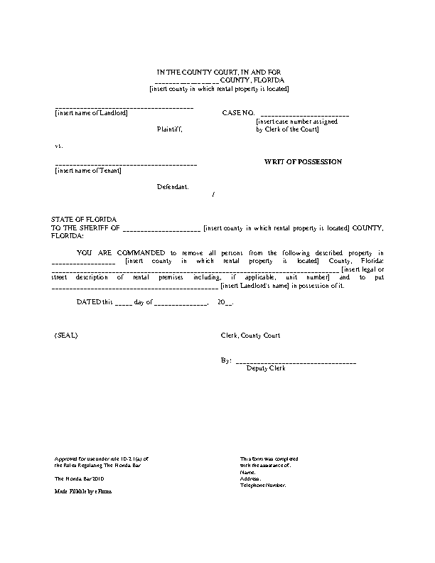 Florida Eviction Writ Of Possession Form