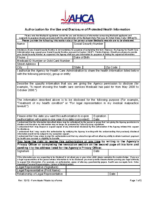 Florida Hipaa Medical Release Form