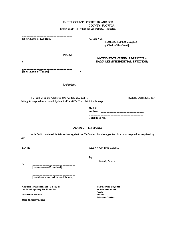 Florida Motion For Default Motion With Damages