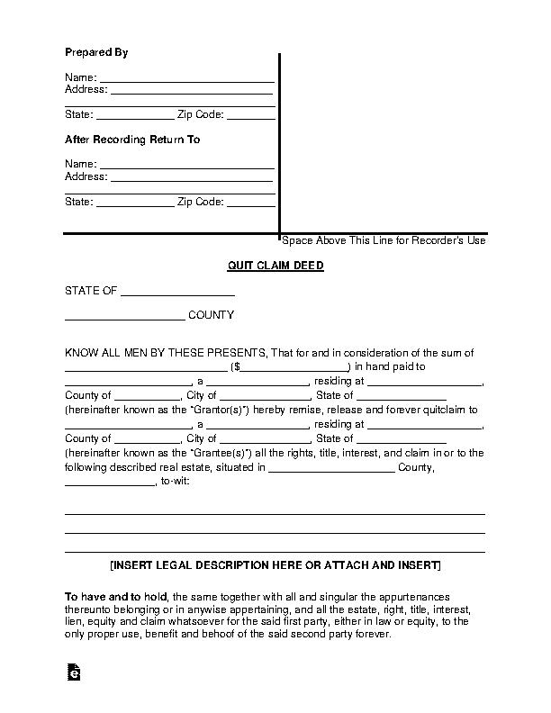 General Standard Quit Claim Deed