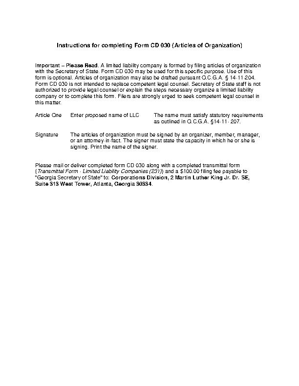 Georgia Articles Of Organizaion