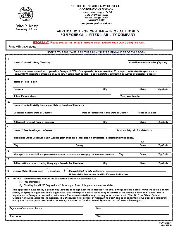 Georgia Certificate Of Authority