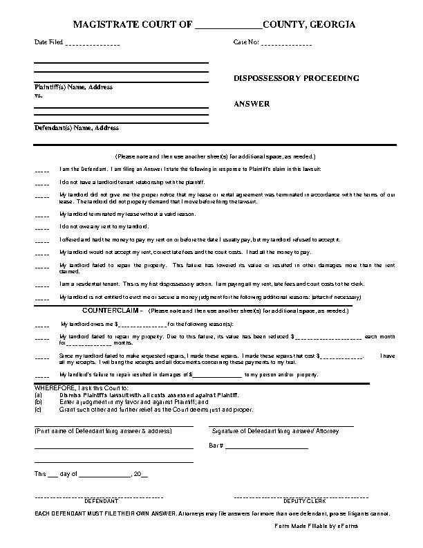 Georgia Dispossessory Answer Form