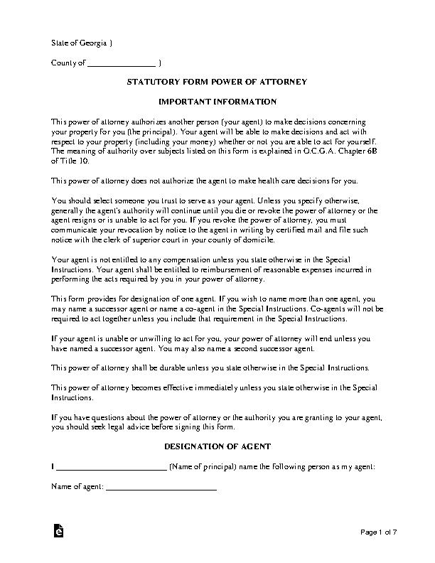 Georgia Durable Statutory Financial Power Of Attorney Form