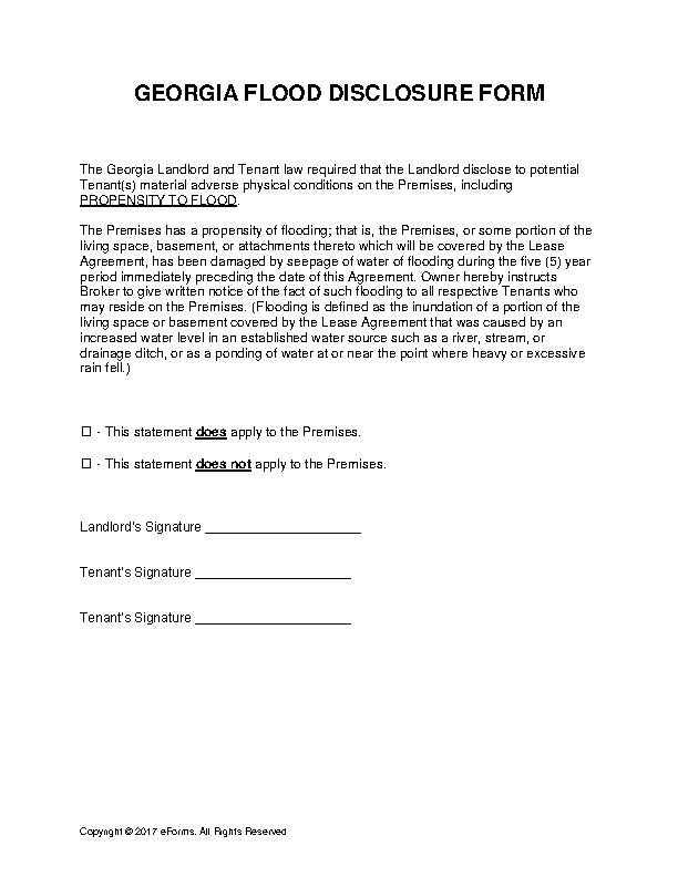 Georgia Flood Disclosure Form