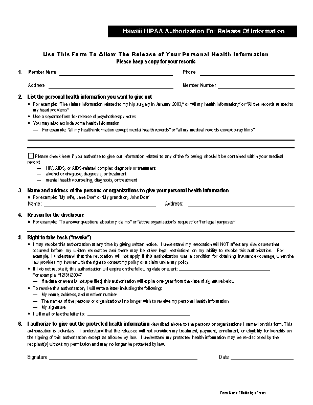 Hawaii Hipaa Medical Release Form