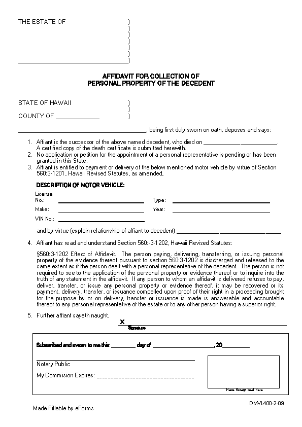 Hawaii Small Estate Affidavit For Motor Vehicles