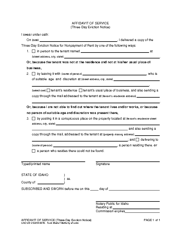 Idaho 3 Day Notice To Pay Or Quit Affidavit Of Service Cao Ud 2