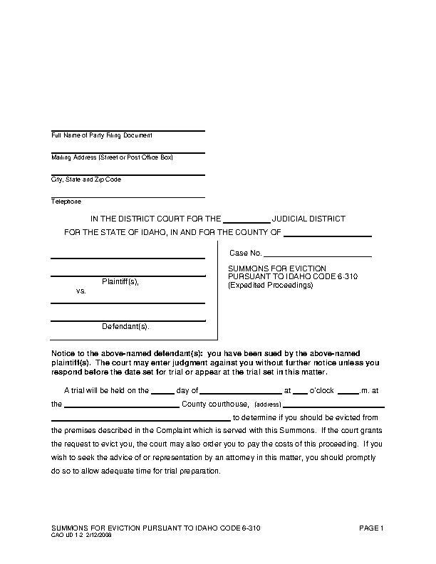 Idaho Eviction Summons Form