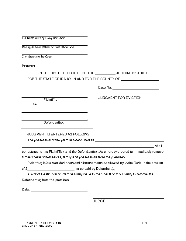 Idaho Judgment For Eviction Form