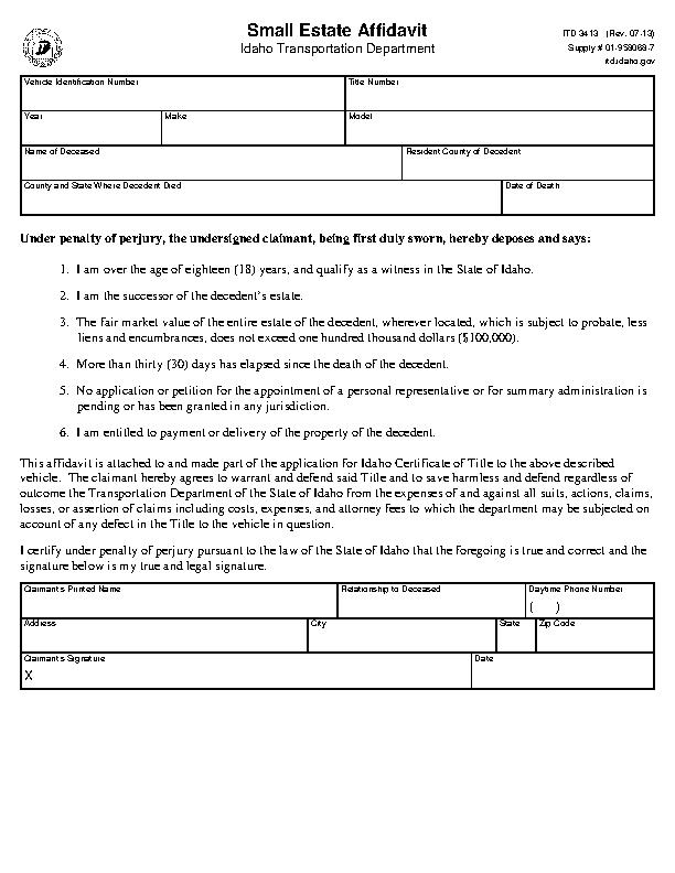 Idaho Small Estate Affidavit For Vehicles Only