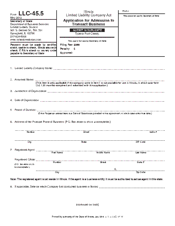 Illinois Application For Admission