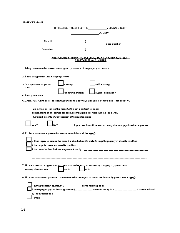 Illinois Eviction Answer Form