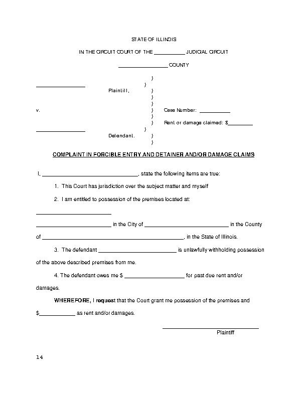 Illinois Eviction Complaint Form