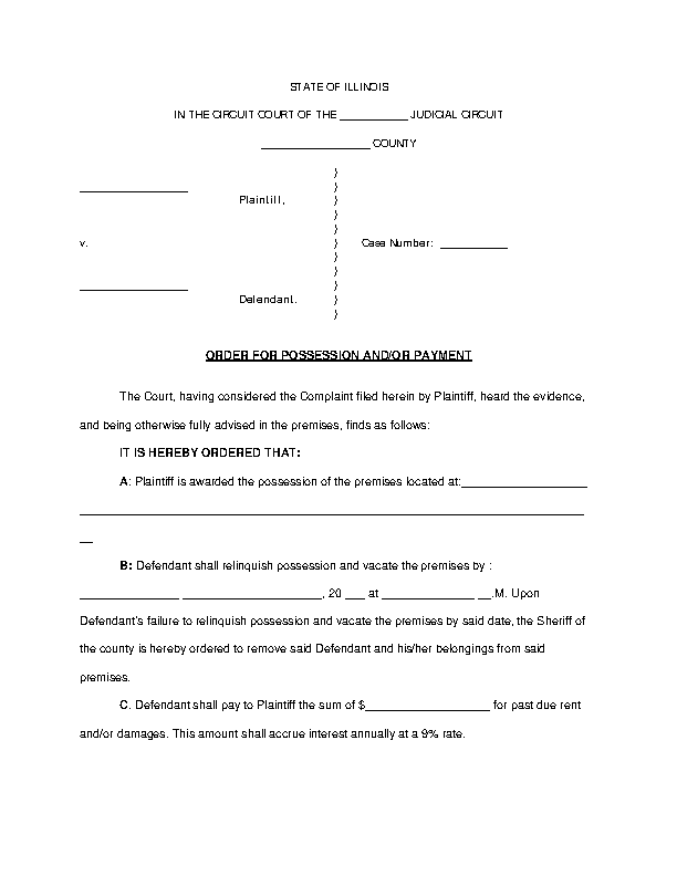 Illinois Eviction Order For Possession