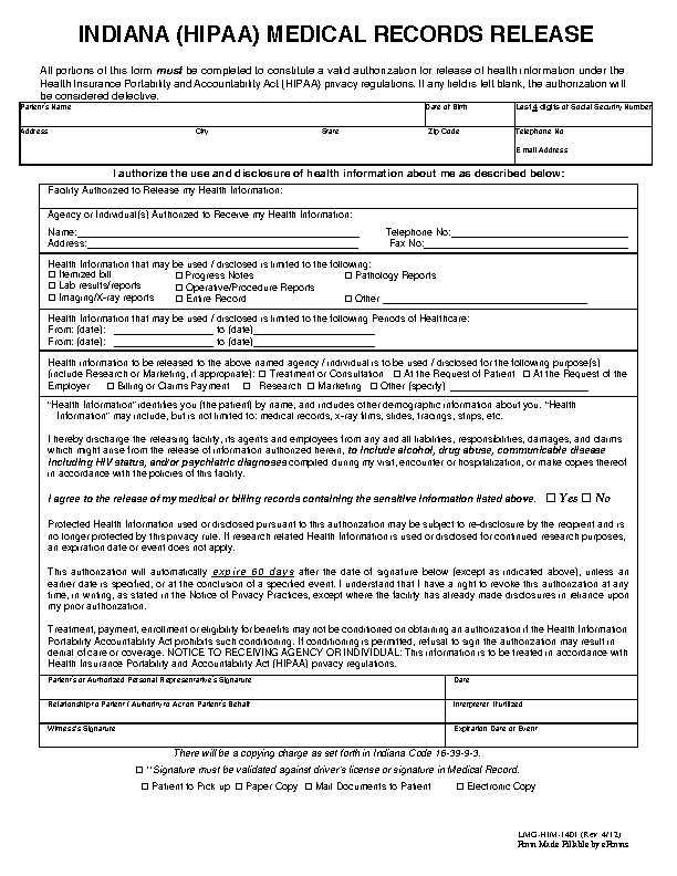 Indiana Hipaa Medical Records Release Form