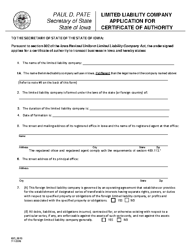 Iowa Certificate Of Authority