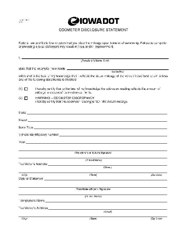 Iowa Odometer Disclosure Statement