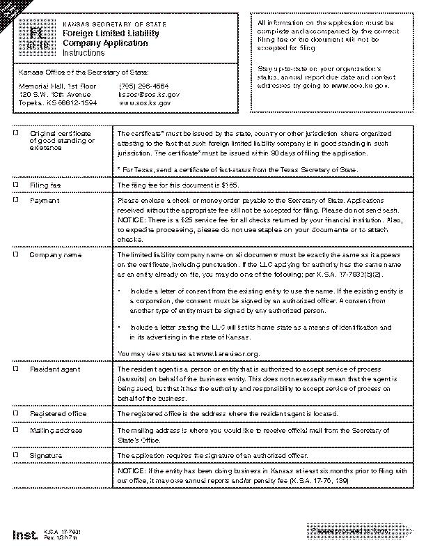 Kansas Foreign Llc Application