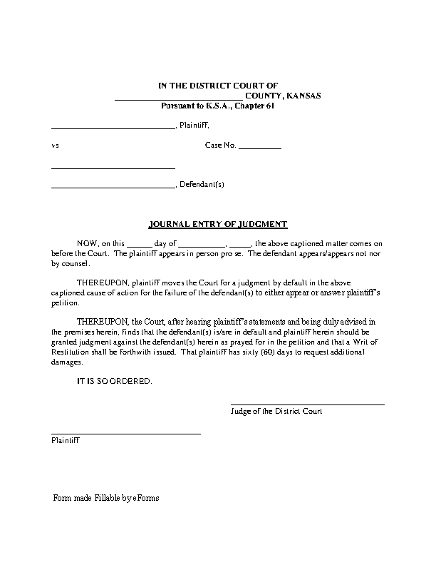 Kansas Journal Entry Of Judgment Form