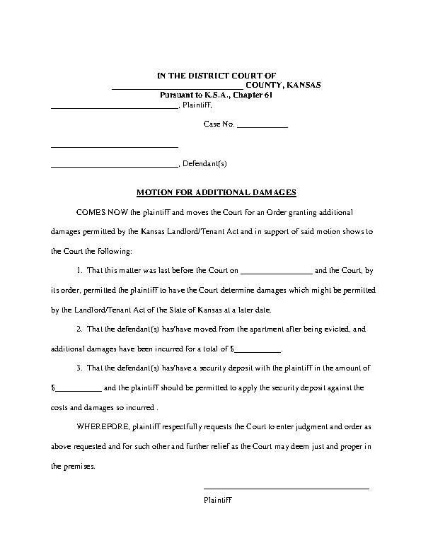 Kansas Motion For Additional Damages