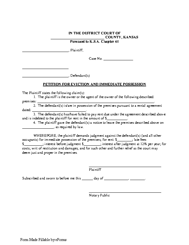 Kansas Petition For Eviction Form