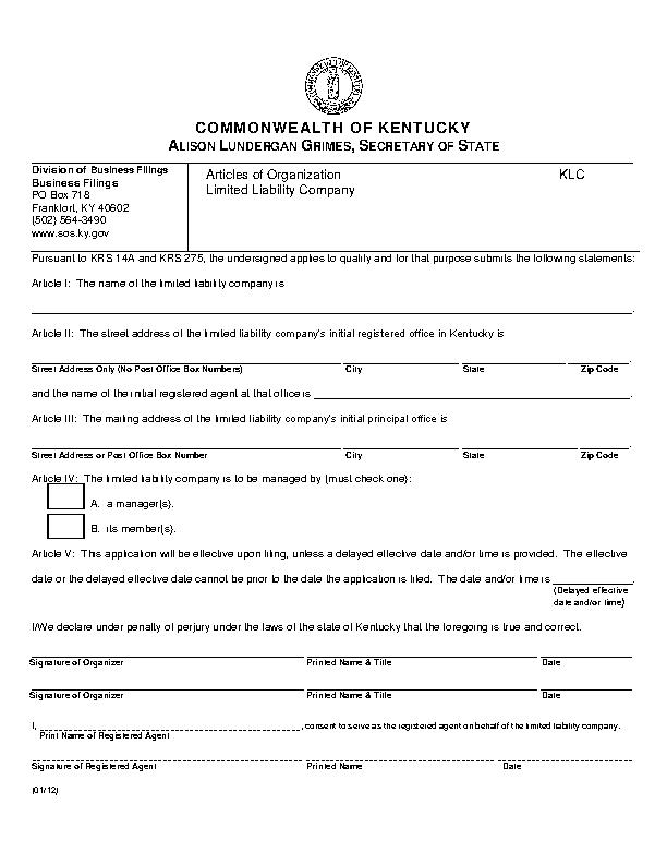 Kentucky Articles Of Organization