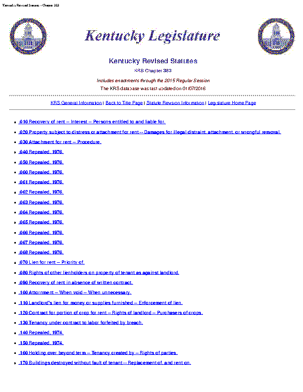Kentucky Revised Statutes Chapter 383