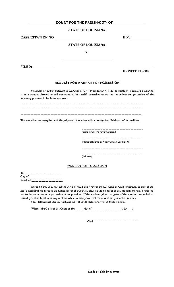 Louisana Warrant for Possession Form - PDFSimpli