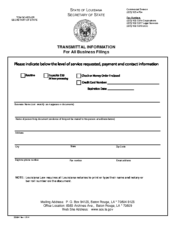 Louisiana Application For Authority