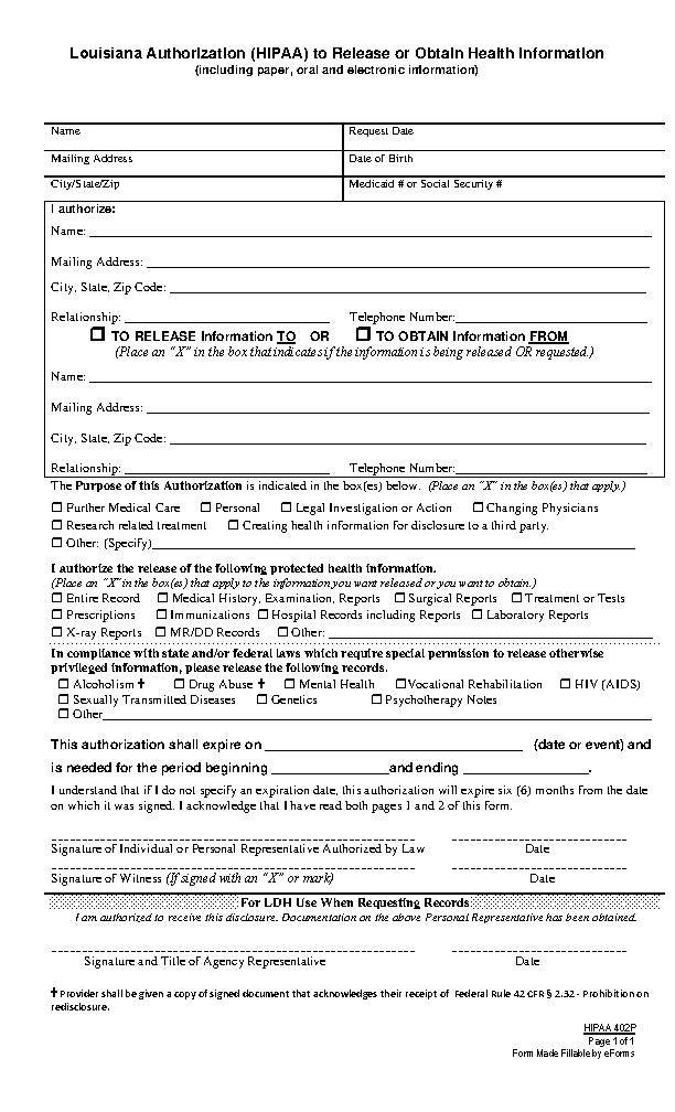 Louisiana Hipaa Medical Release Form