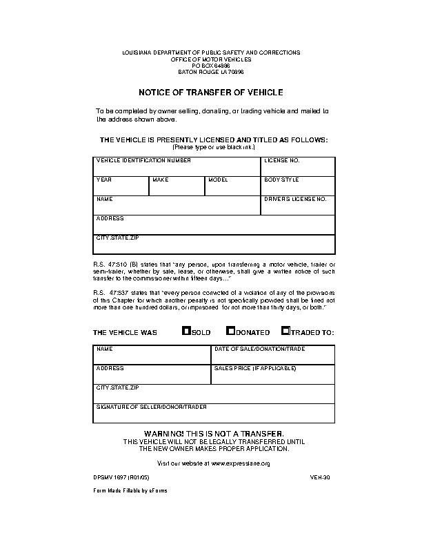 Louisiana Notice Of Vehicle Transfer Form