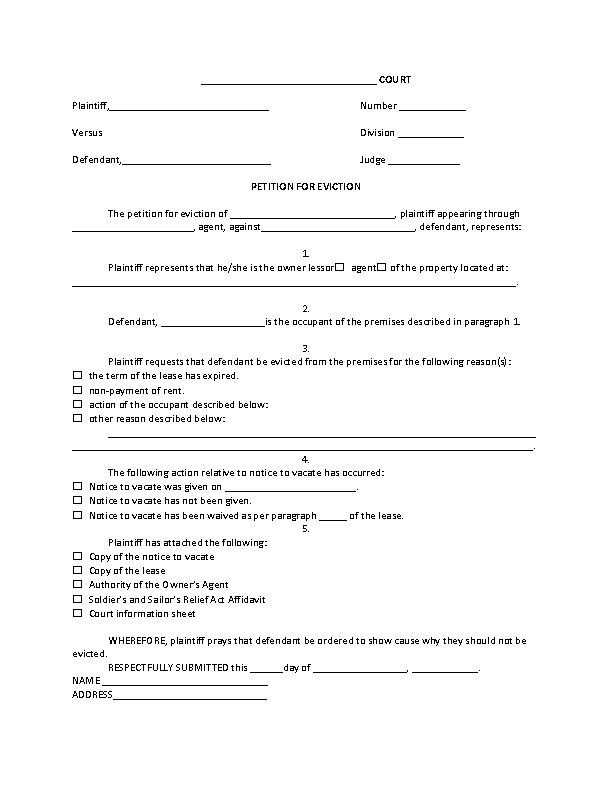 Louisiana Petition For Eviction Form