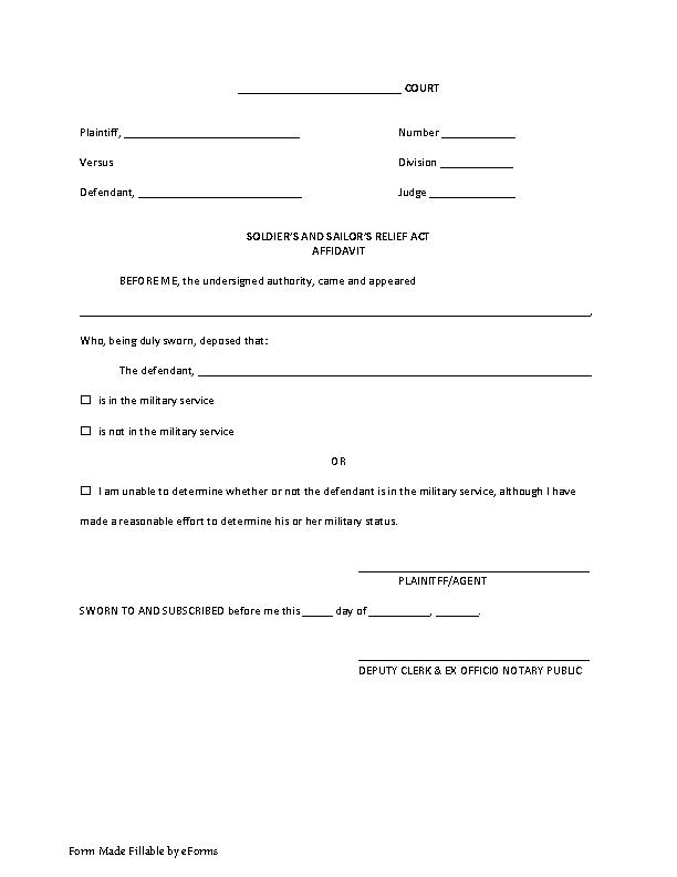 Louisiana Soldiers Sailors Relief Affidavit Form