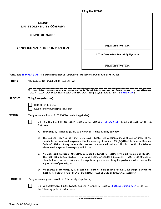 Maine Certificate Of Formation