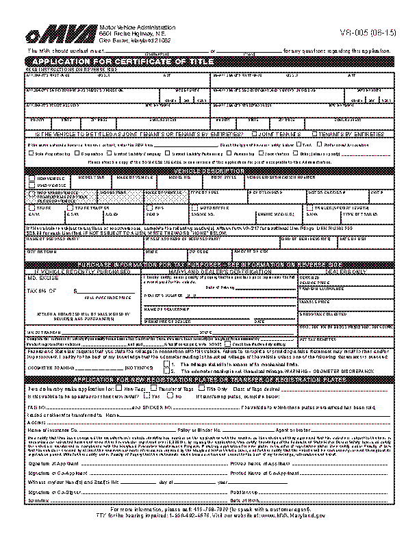 Maryland Application For Certificate Of Title Form Vr 005