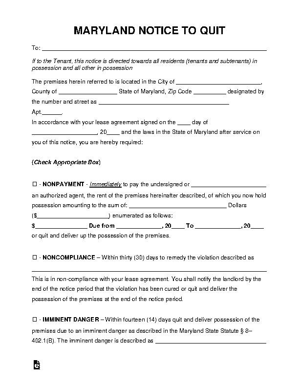 Maryland Eviction Notice To Quit Form