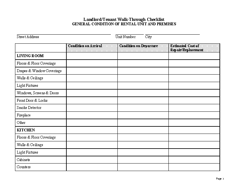 Massachusetts Move In Inspection Checklist Form