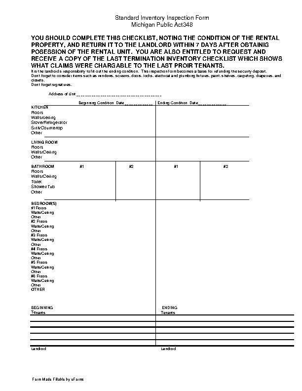 Michigan Inventory Move In Checklist Form