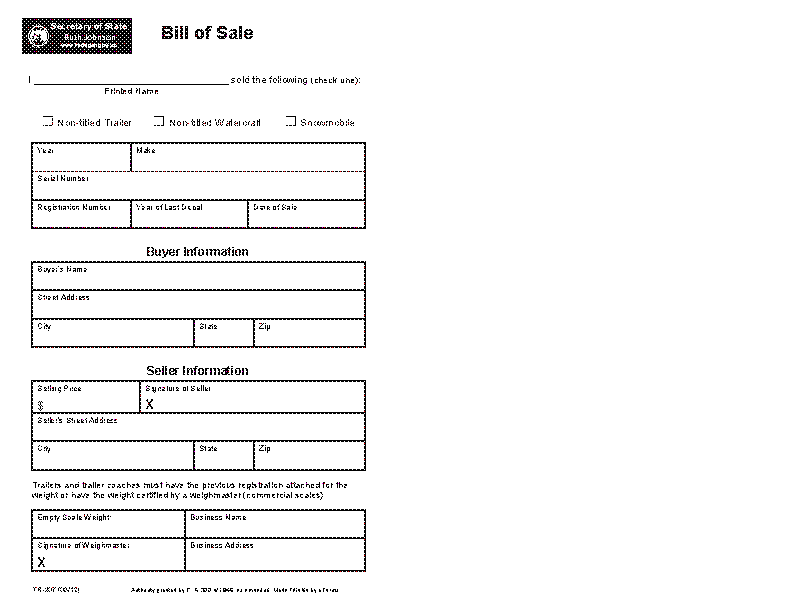 Michigan Motor Vehicle Bill Of Sale Form Tr 207